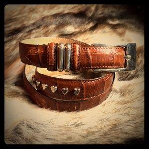 Talbots Italian leather metal heart brown belt L